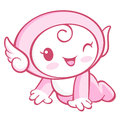 The cherub mascot is crawling around the room angel character d design series Stock Image