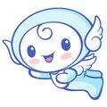 Cherub mascot flying to the sky angel character design series Royalty Free Stock Images