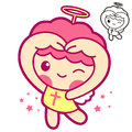 Cherub mascot gesture of love in to the right toward angel char character design series Stock Photos