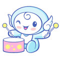 The cherub mascot playing the traditional music of korea angel character design series Royalty Free Stock Photography