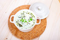 Chervil soup savory on a wooden board Stock Photos