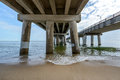 Chesapeake bay bridge a view of the from the virginia beach side image taken early am Royalty Free Stock Image