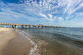 Chesapeake bay bridge a view of the from the virginia beach side image taken early am Royalty Free Stock Photos