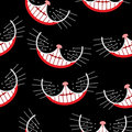 Cheshire cat Smile seamless pattern. Vector background.