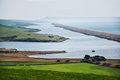 Chesil beach overlook from abbotsbury of or bank the fleet and the isle of portland in the lower left is the swannery … Royalty Free Stock Photo