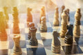Photo : Chess battle in business concept investment and financial advisor photo blurred with copy space and overlay. businesswoman polar