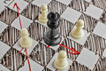 Chess. The black King is under attack. White board with chess figures on it. Royalty Free Stock Photo