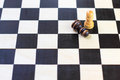 Chess board with chess pawns checkerboard black and white background Stock Photos