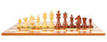Chess board and chessmen isolated on white background Stock Photo