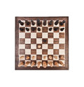 Chess board with figures on a white background Stock Photo