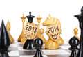 Chess board new year concept and years on a Royalty Free Stock Photography