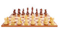 Chess board set up to begin a game isolated on white background Royalty Free Stock Photos