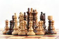 Chess on chessboard close up in studio Royalty Free Stock Photos