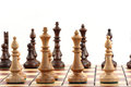 Chess on chessboard close up in studio Royalty Free Stock Photo