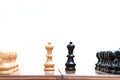 Chess confrontation on the board Royalty Free Stock Photo