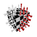 Chess cube d render of shaped set Royalty Free Stock Photo