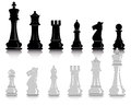 Chess figures white and black pieces on a white background Royalty Free Stock Photo