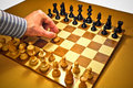 Chess. First move. Royalty Free Stock Photo