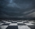 Chess floor and dark sky background dramatic overcast premade Stock Photo