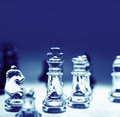 Chess game of glass pieces Stock Photography