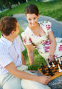 Chess game outdoors Stock Photo