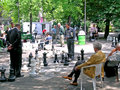 Chess game in park Royalty Free Stock Photo