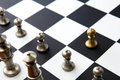 Chess game pawn alone in front on chessboard classic Royalty Free Stock Photos