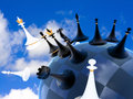 Chess global war on earth against the sky Stock Images