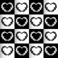 Chess hearts seamless background or pattern black and whhite Royalty Free Stock Photography