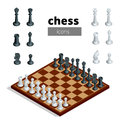 Chess icons. Flat 3d isometric vector illustration. White board with chess figures on it. Intelligent, strategic game.