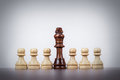Chess king leadership concept over grey background black Stock Photos