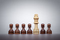 Chess king leadership concept over grey background white Royalty Free Stock Photo