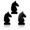 Chess knight icon showing a from a match in different styles Royalty Free Stock Image