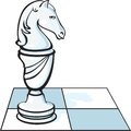 The chess knight white hors on a chessboard stands in profile Stock Photos