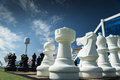 Chess large pieces to be played on a cruise ship deck Royalty Free Stock Photography
