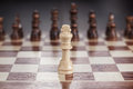 Chess leadership concept on the chessboard conception wooden Stock Photos