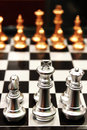 Chess pieces on a board Royalty Free Stock Photo