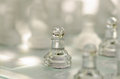 Chess pieces board with glass Stock Photography