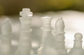 Chess pieces board with glass Stock Photos
