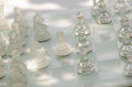Chess pieces board with glass Royalty Free Stock Image