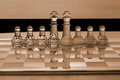 Chess pieces - business concept series: strategy, merger. Royalty Free Stock Photos