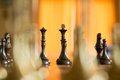 Chess pieces on a chess board macro showing the king queen and bishop and pawn in game the opposing players are in the background Royalty Free Stock Photo