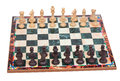 Chess pieces on chessboard ready to start the game Stock Image