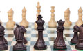Chess pieces on chessboard ready to start the game Royalty Free Stock Photos