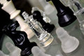 Chess pieces photo of a group of on a board Royalty Free Stock Photo