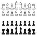 Chess Pieces Silhouette - Black and White Set. Royalty Free Stock Photo