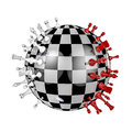 Chess planet d render of globe shaped set Royalty Free Stock Image