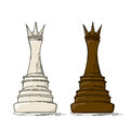 Chess queen vector drawing against white background Stock Photography