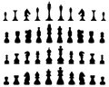 Chess silhouettes of pieces illustration Stock Photos