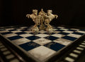 Chess white king and two white knights Royalty Free Stock Photo